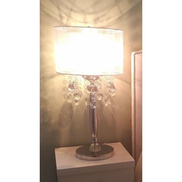 Silver Mist 3 Light Chrome Crystal Table Lamp with Shade Contemporary  Modern Living Room,For Bedroom