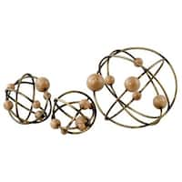 Aspire Home Accents  Ariana Metal Orbs, Antique Brown - Set of 3