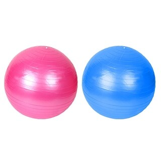 Gym Inflatable Fitness Exercise Swiss Yoga Ball Pink Blue 75cm Dia w Pump 2pcs