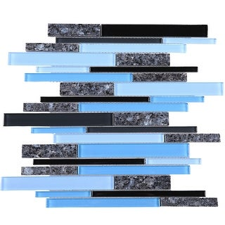 TileGen. Slender Random Sized Mixed Material Tile in Blue/Grey Wall Tile (10 sheets/10.4sqft.)