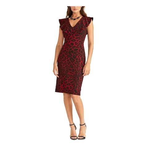 RACHEL ROY Red Petal Sleeve Knee Length Dress S