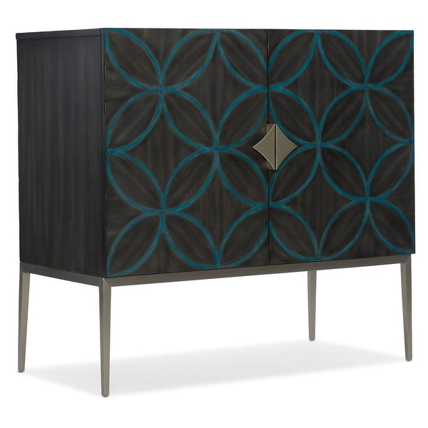 """Hooker Furniture 638-85436 Robin 38"""" Wide 1 Shelf Walnut Wood and Metal Accent Cabinet from the Melange Collection"""