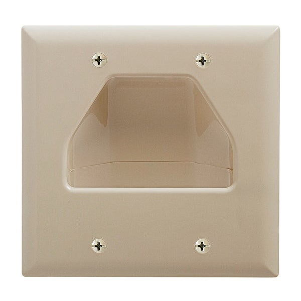 DataComm 45-0002-IV Two-Gang Low-Voltage Cable Wall Plate For Multiple Cables - Ivory