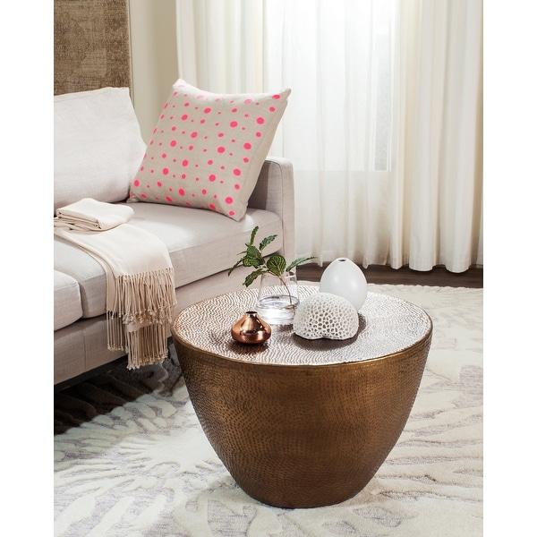 "SAFAVIEH Myrtis Brass Drum Coffee Table - 23.5"" x 23.5"" x 15.8"". Opens flyout."