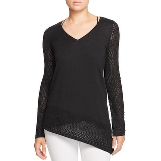 Design History Womens Sweater Asymmetrical V-Neck