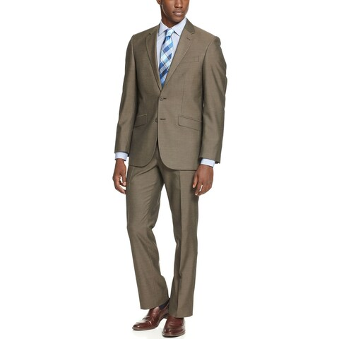 UNLISTED By Kenneth Cole Brown Sharkskin Suit 38 Regular 38R Pants 31 Waist $350