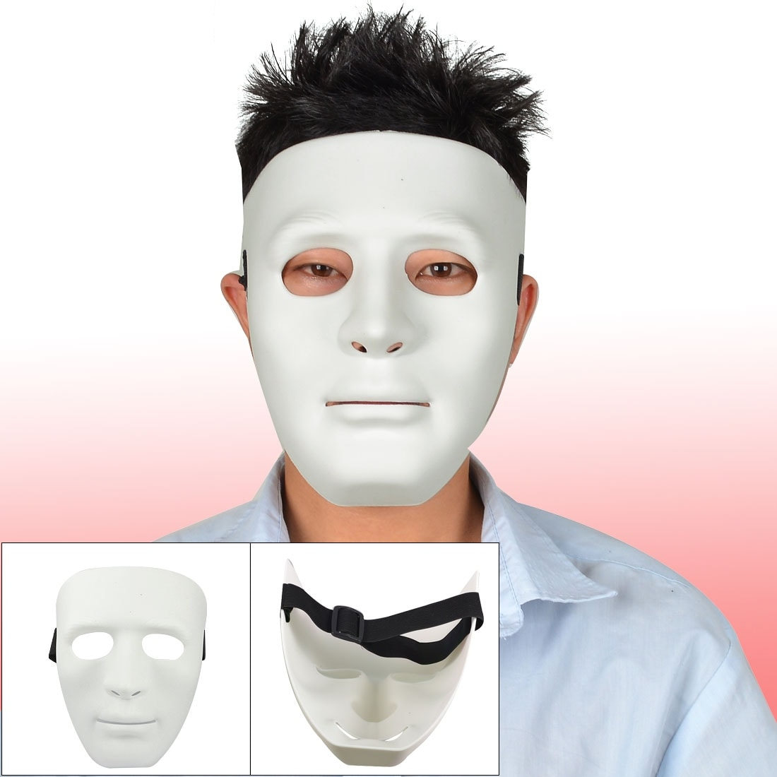 Shop Man Adjustable Black Elastic Band Full Face Plastic Halloween