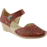 Spring Step Women's Nougat Closed Toe Sandal Red Leather
