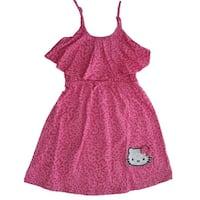 Hello Kitty Little Girls Fuchsia Spotted Bow Glittery Applique Dress 4-6X