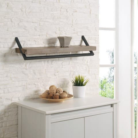 """Karns Wall Shelf in Natural Wood and Iron Finish - 30"""" x 8"""""""