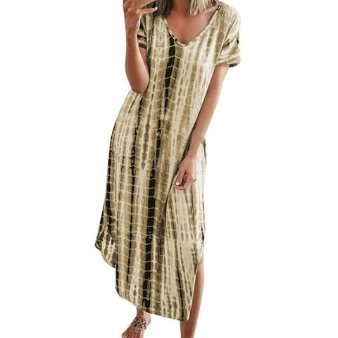 Tie-Dye Printed Casual Loose Short Sleeve Split Dress