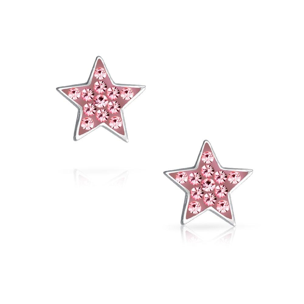 Sterling Silver Enamel Star Preciosa Crystal Earrings Celestial