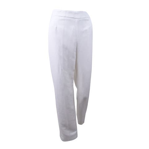 Kasper Women's Linen Blend Classic Side Zip Pants - Lily White