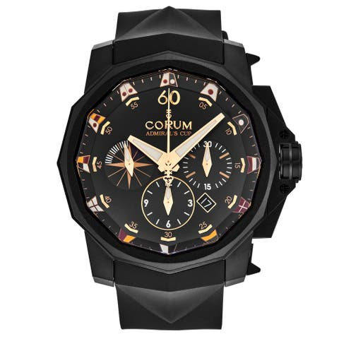 Corum Men's A753/04204 'Admiral Cup' Black Dial Rubber Strap Chronograph Automatic Watch