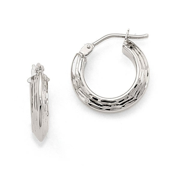 Italian 10k White Gold Polished Hoop Earrings