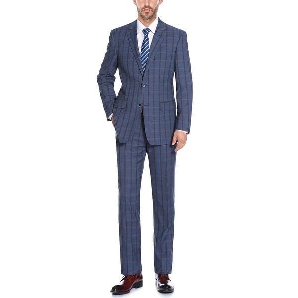Mens 2-Piece Classic Fit Plaid Stretch Suit