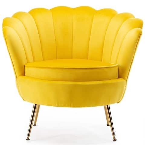Modern Scalloped Back Accent Barrel Chair