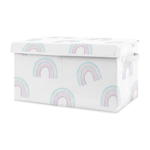 Sweet Jojo Designs Pastel Rainbow Collection Girl Kids Fabric Toy Bin Storage - Blush Pink, Purple, Teal, Blue and White