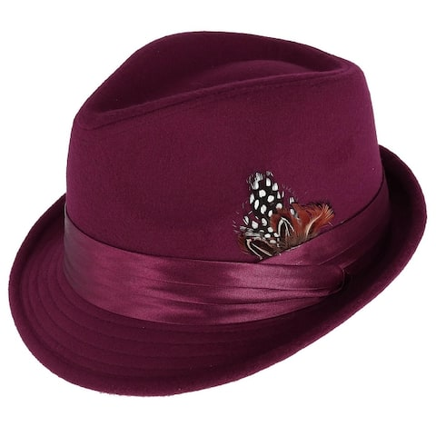 Kenny K Men's Dressy Faux Felt Fedora with Removable Feather