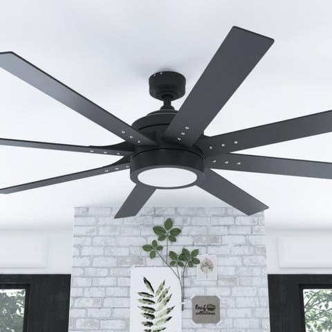 "62"" Honeywell Xerxes Indoor Contemporary Ceiling Fan with Remote, Matte Black"