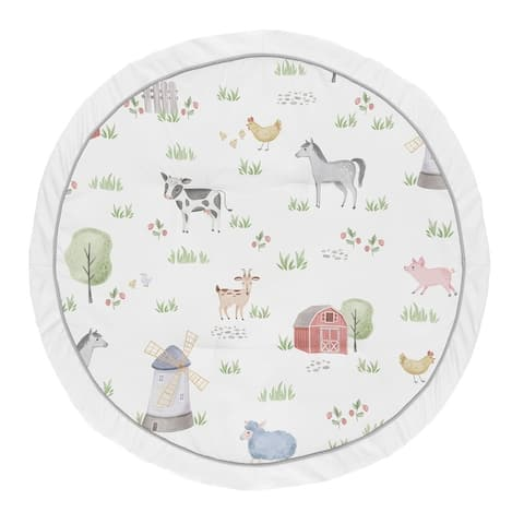 Farm Animals Collection Boy Girl Baby Tummy Time Playmat - Watercolor Farmhouse Horse Cow Sheep Pig - Multi-Color