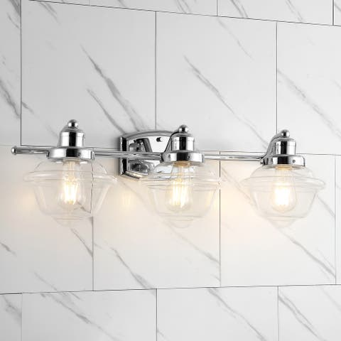 Orleans Iron/Glass schoolhouse LED Vanity Light, Chrome by JONATHAN Y