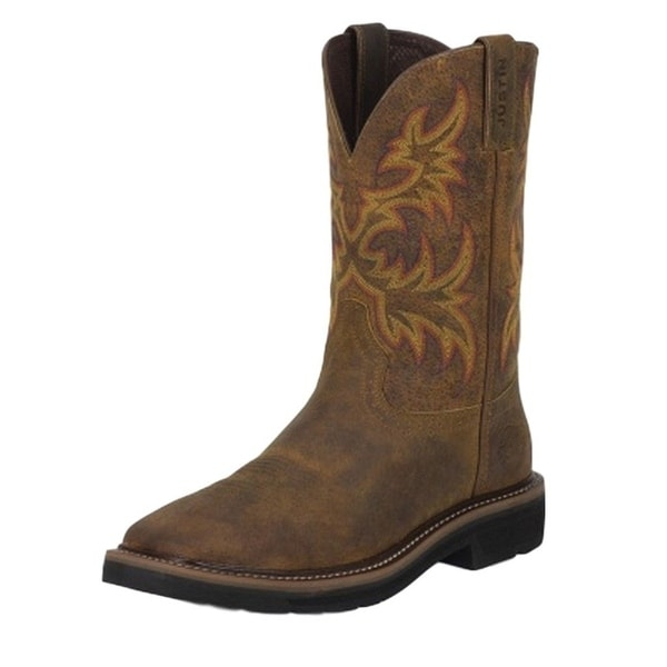 Justin Work Boots Mens Driller Rugged Square Toe Pull On Tan