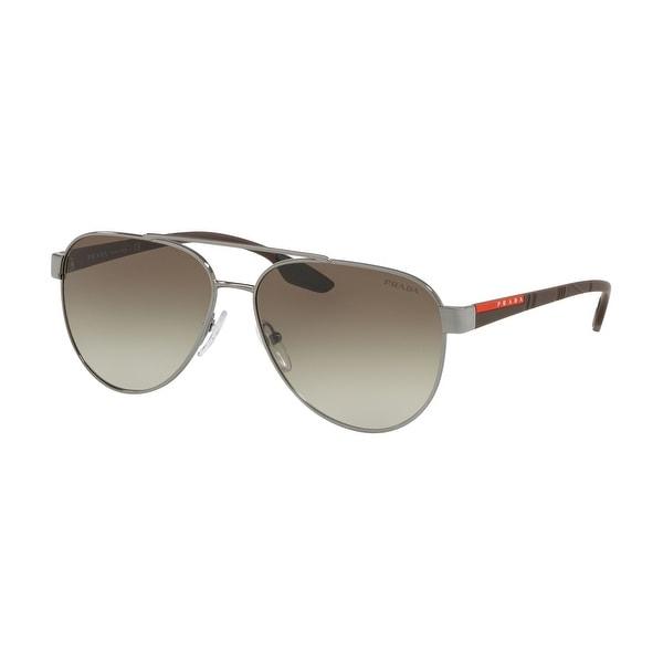 Prada Linea Rossa PS 54TS 5AV1X1 61 Gunmetal Man Pilot Sunglasses