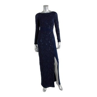 Lauren Ralph Lauren Womens Sequined Side Slit Evening Dress