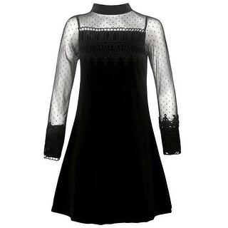 Rare Editions Girls Black Lace Trim A-Line Long Sleeve Christmas Dress