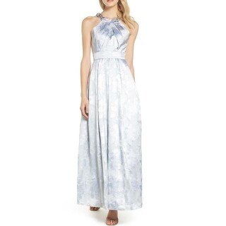 Link to Eliza J Beaded Twist Neck Jacquard Evening Gown, Sliver, 16 Similar Items in Dresses