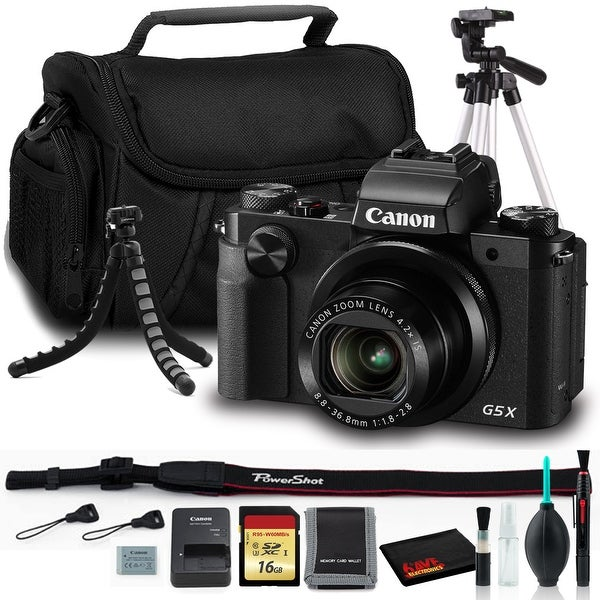 Canon PowerShot G5 X Digital Camera with 16GB SD, Tripods, Carry Case,. Opens flyout.