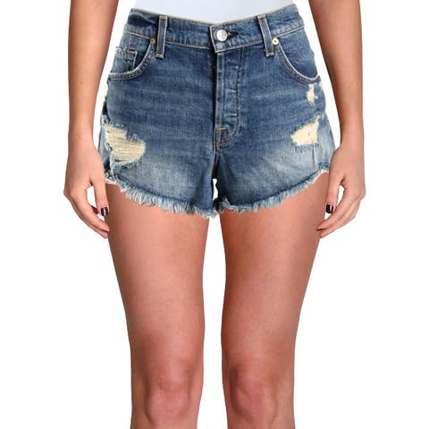 7 For All Mankind Womens Denim Shorts Destroyed High Rise - 27
