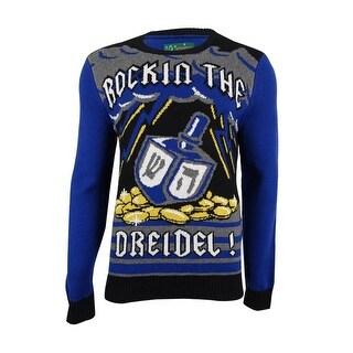 Christmas Ugly Sweater Co Men's Rocking The Dreidel Sweater (M, Royal) - ROYAL - M