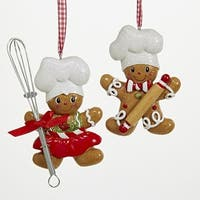 Club Pack of 12 Brown and White Gingerbread Boy and Girl Chef Ornaments 5.25""