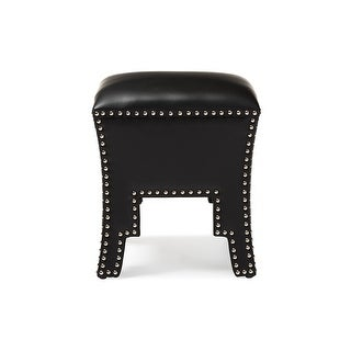 Bouverie Modern and Contemporary Black Faux Leather Nail head Ottoman Stool
