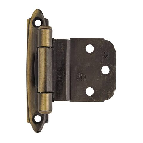 3/8in (10 mm) Inset Self-Closing, Face Mount Antique Brass Hinge - 1 Pair - 2.75