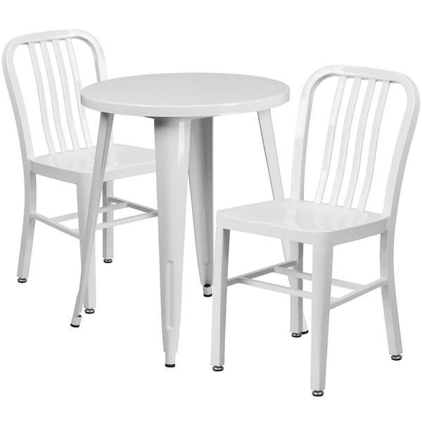 Shop Brimmes 3pcs Round 24 White Metal Table W 2