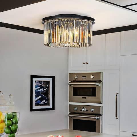 """9-Lights Modern Glam Crystal Flush Mount Ceiling Lights 20"""" Matte Black Interior Decor Chandelier"""