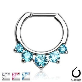 Five Pronged CZs 316L Surgical Steel Septum Clicker Ring (Sold Ind.)