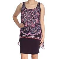 SLNY Womens Purple Printed Sleeveless Scoop Neck Above The Knee Dress  Size: 4