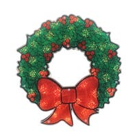 """15"""" Lighted Holographic Christmas Wreath Window Silhouette Decoration - green"""