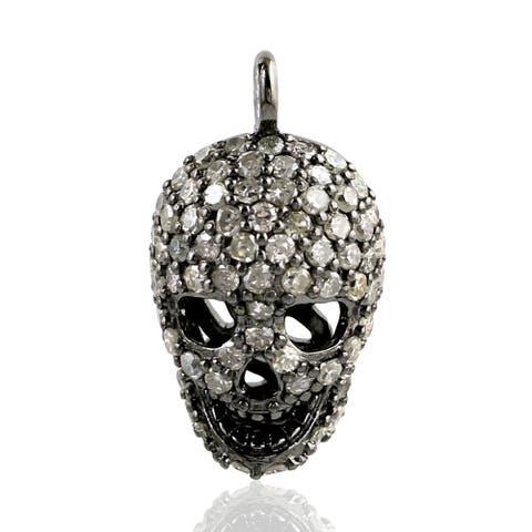 Artisan 925 Sterling Silver Diamond Skull Charm Jewelry With Jewelry Box