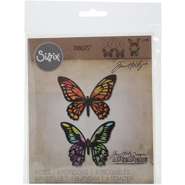 Sizzix Thinlits Dies 4/Pkg By Tim Holtz-Detailed Butterflies