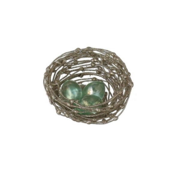 """Sugared Fruit Glittered Bird's Nest with Glass Eggs Christmas Decoration 3.5"""" - GOLD"""