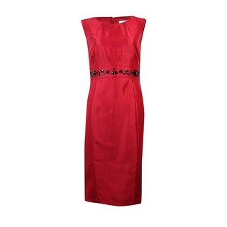 Kasper Women's Solid Sleeveless Beaded Waist Sheath Dress - Fire Red