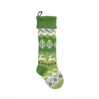 """30"""" Extra Long Festive Tree, Diamond, Heart and Reindeer Patterned Knit Wool Christmas Stocking"""