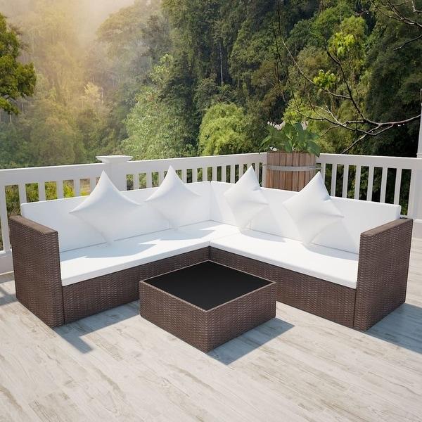 "vidaXL 4 Piece Garden Lounge Set with Cushions Poly Rattan Brown - 46"" x 23"" x 25"""