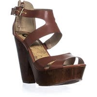 Guess Sylbie Peep Toe Platform Strap Sandals, Light Brown - 10 us