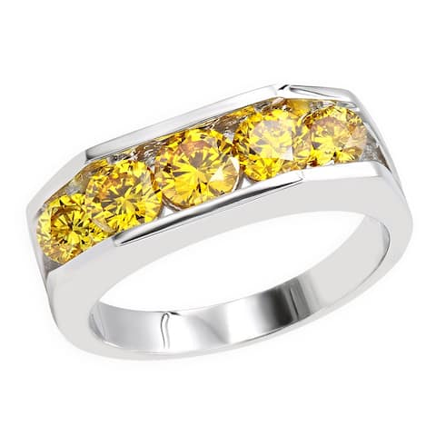 Men's 5 Stone Ring Round Diamond Band 2.4ctw in 18k Gold by Luxurman